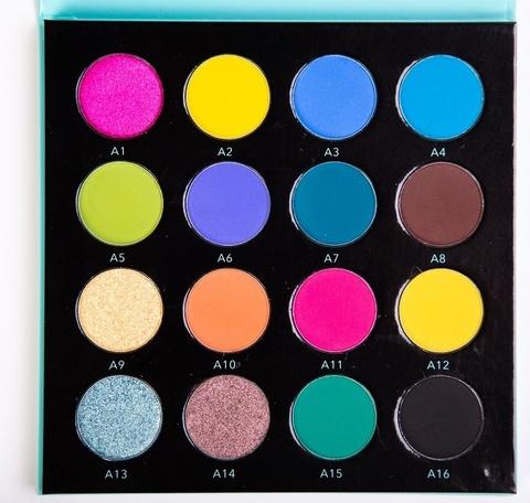 OG-DE7183 PRO PIGMENT PALETTE 1 Палетка пигментов 16 цветов для век (оттенки A1-A16)
