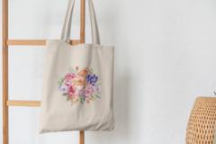 Сумка-шоппер с принтом Цветы (Розы) бежевая 004