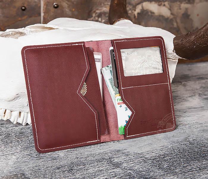WB117-3 Кожаная обложка с окошком для паспорта и документов ручной работы