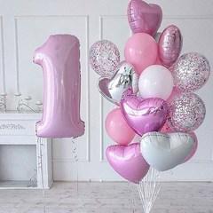 Воздушный шар (40''/102 см) Цифра, 1, Розовый, 1 шт.