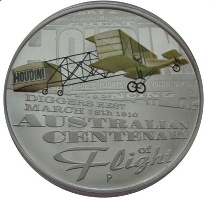 1 доллар 2010 год. Австралия. Самолет. 100-летие первого успешного полета в Австралии Г. Гудини. Серебро