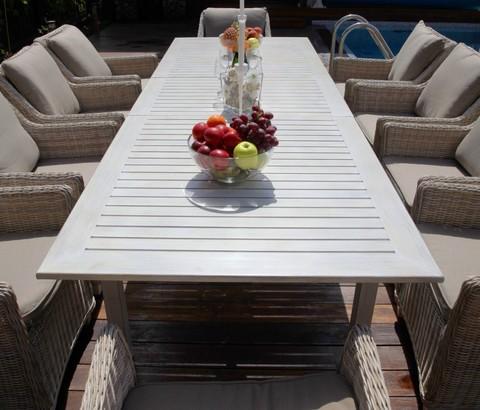 Раскладной обеденный стол «Тоскана» из алюминия, цвет светло-серый