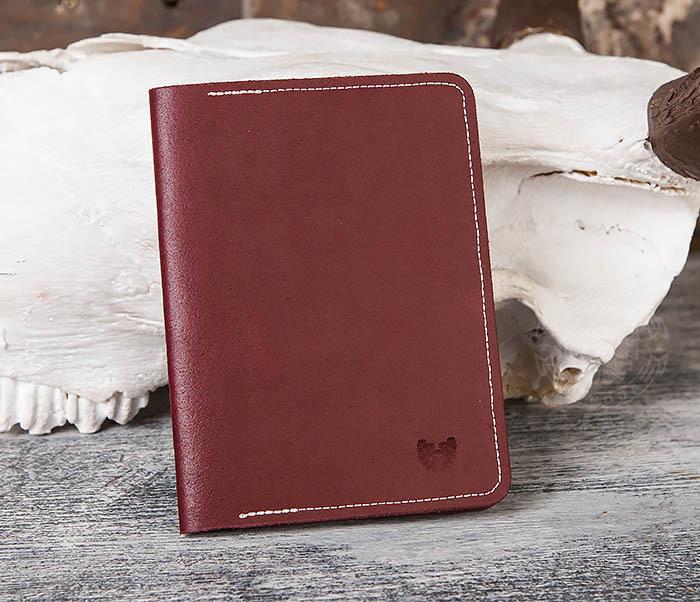 WB117-3 Кожаная обложка с окошком для паспорта и документов ручной работы фото 02