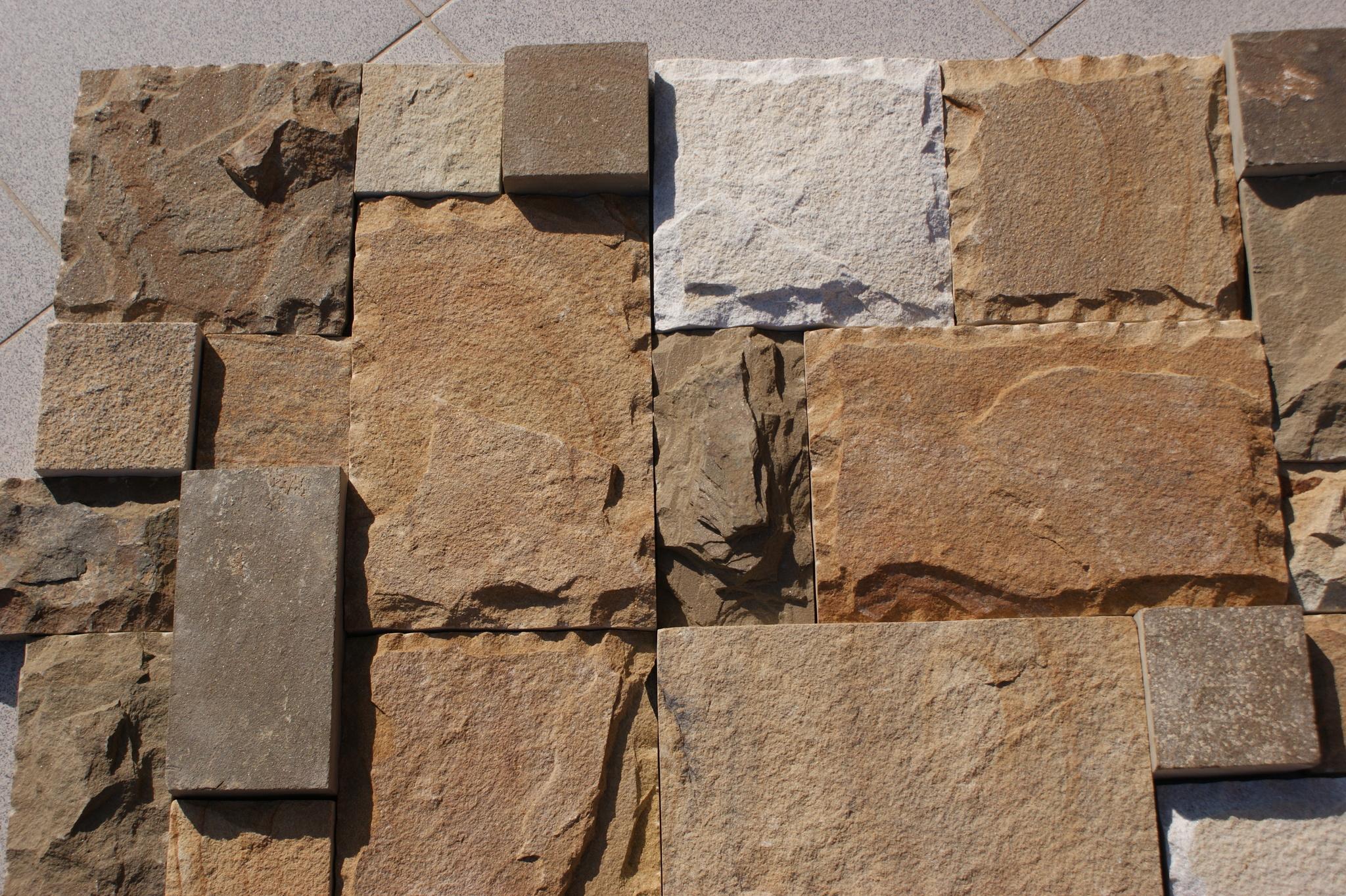 плитка песчаник пиленный рустованный Набор BackYard, образец кладки