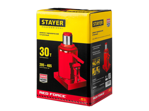 STAYER RED FORCE 30т 240-370мм домкрат бутылочный гидравлический