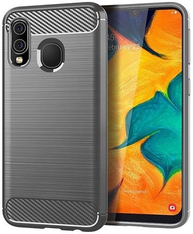 Чехол Samsung Galaxy A40 цвет Gray (серый), серия Carbon, Caseport
