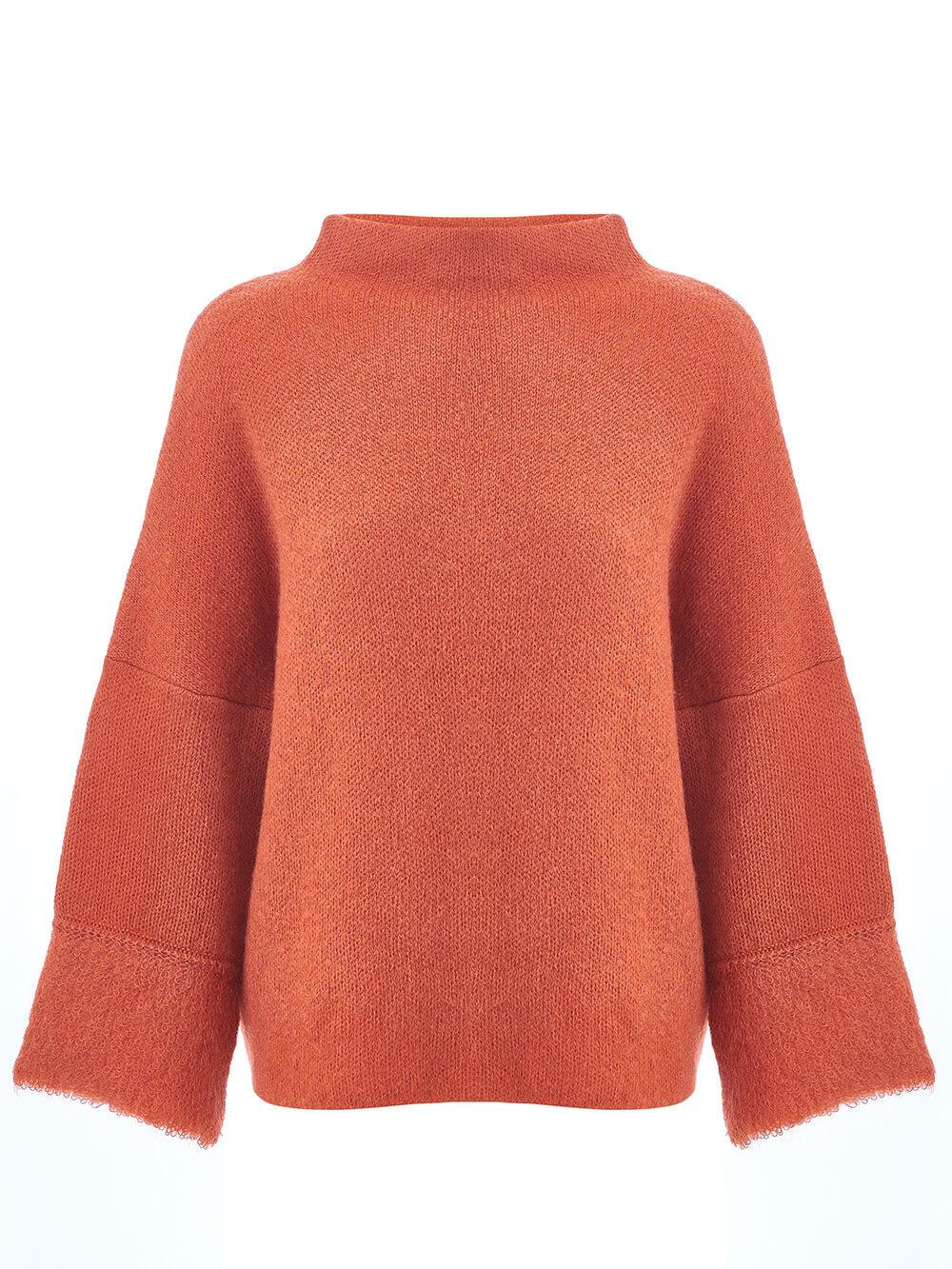 Женский джемпер терракотового цвета из шерсти - фото 1