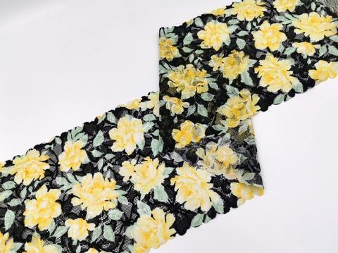 Эластичное кружево, 19,5 см, черное с желтыми цветами, м, (Арт: EK-2277), м