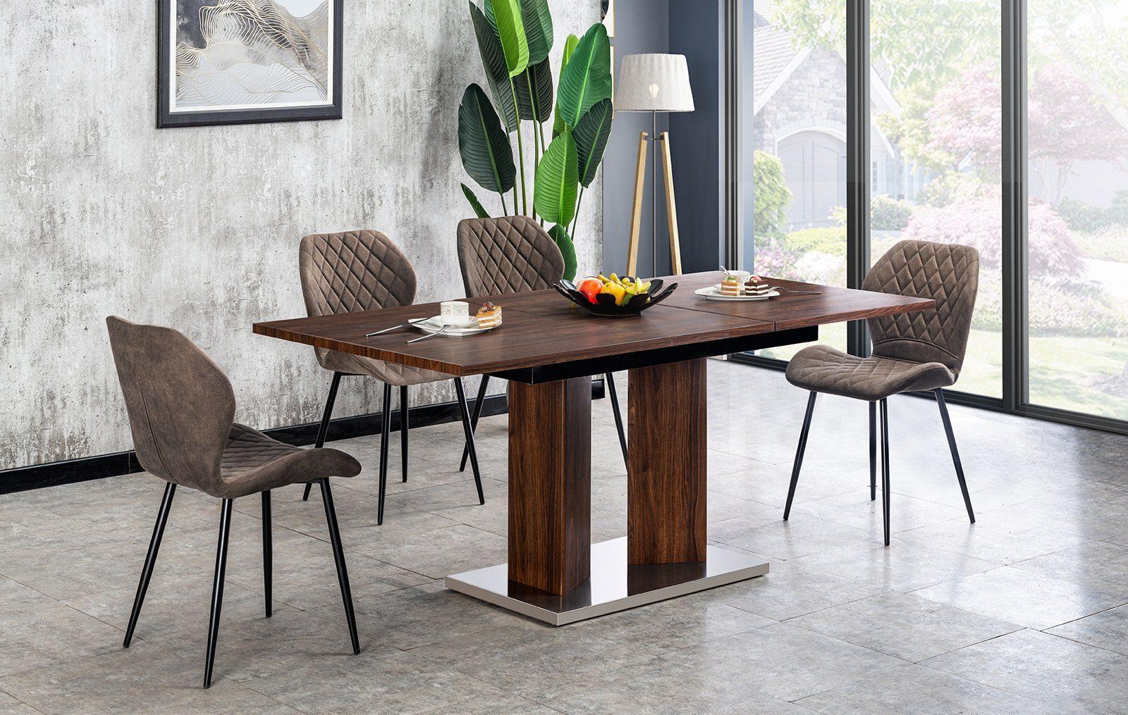 Стол JUNGEN FSD1804 орех и стулья LARA FSC114 серый