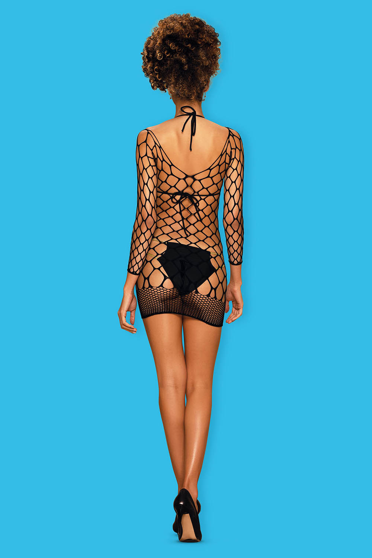 Платье-сетка с длинными рукавами