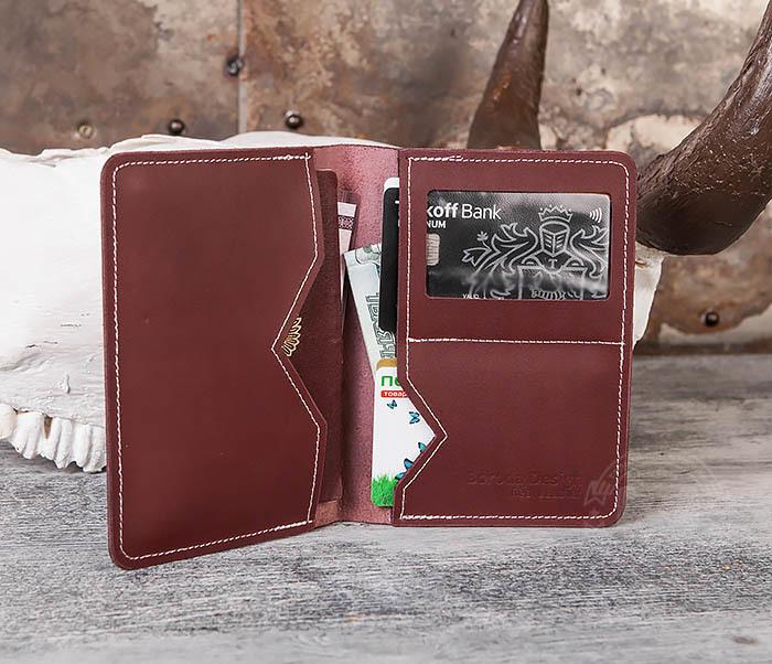 WB117-3 Кожаная обложка с окошком для паспорта и документов ручной работы фото 05