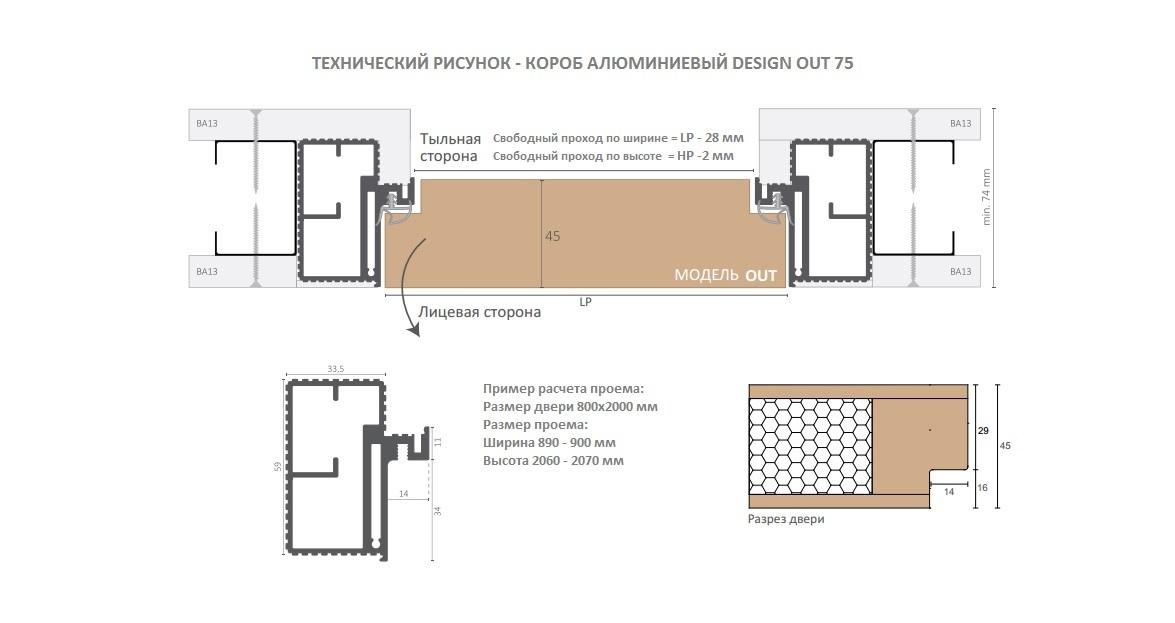 Комплект двери OUT технический рисунок