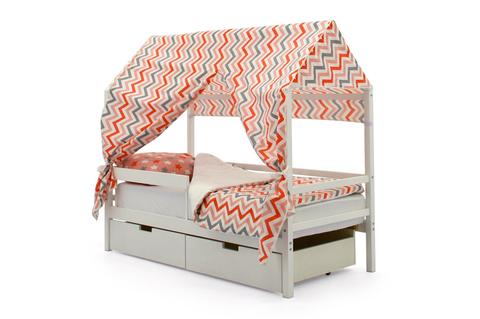 """Крыша текстильная для кровати-домика Svogen """"зигзаги красный, розовый, графит, фон белый"""""""