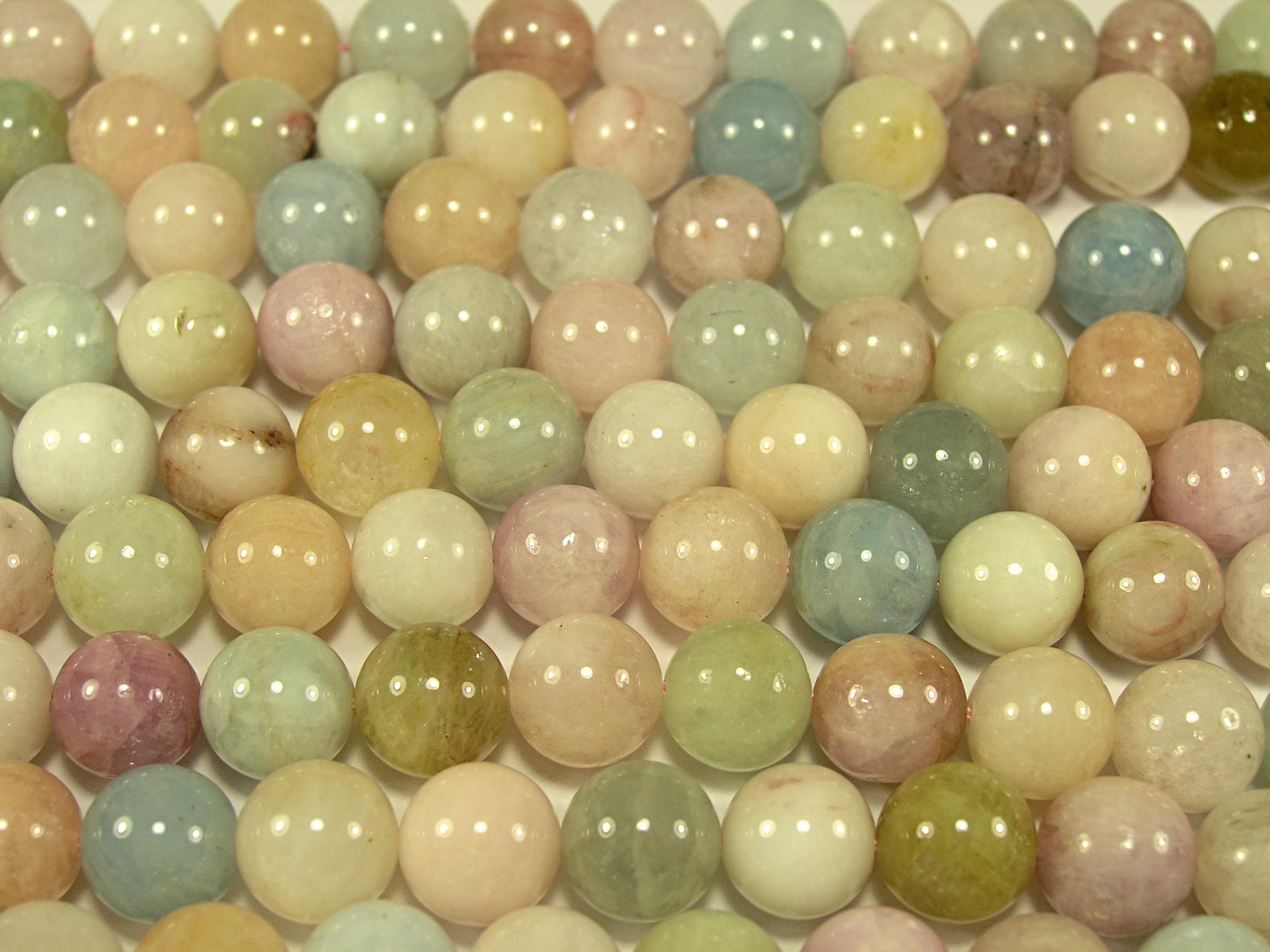Нити бусин из бериллов, шар гладкий 12 мм (оптом)