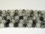 Нить бусин из кварца рутилового черного, шар гладкий 10мм
