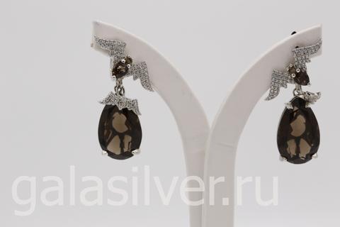 Серьги с раухтопазом и цирконами из серебра 925