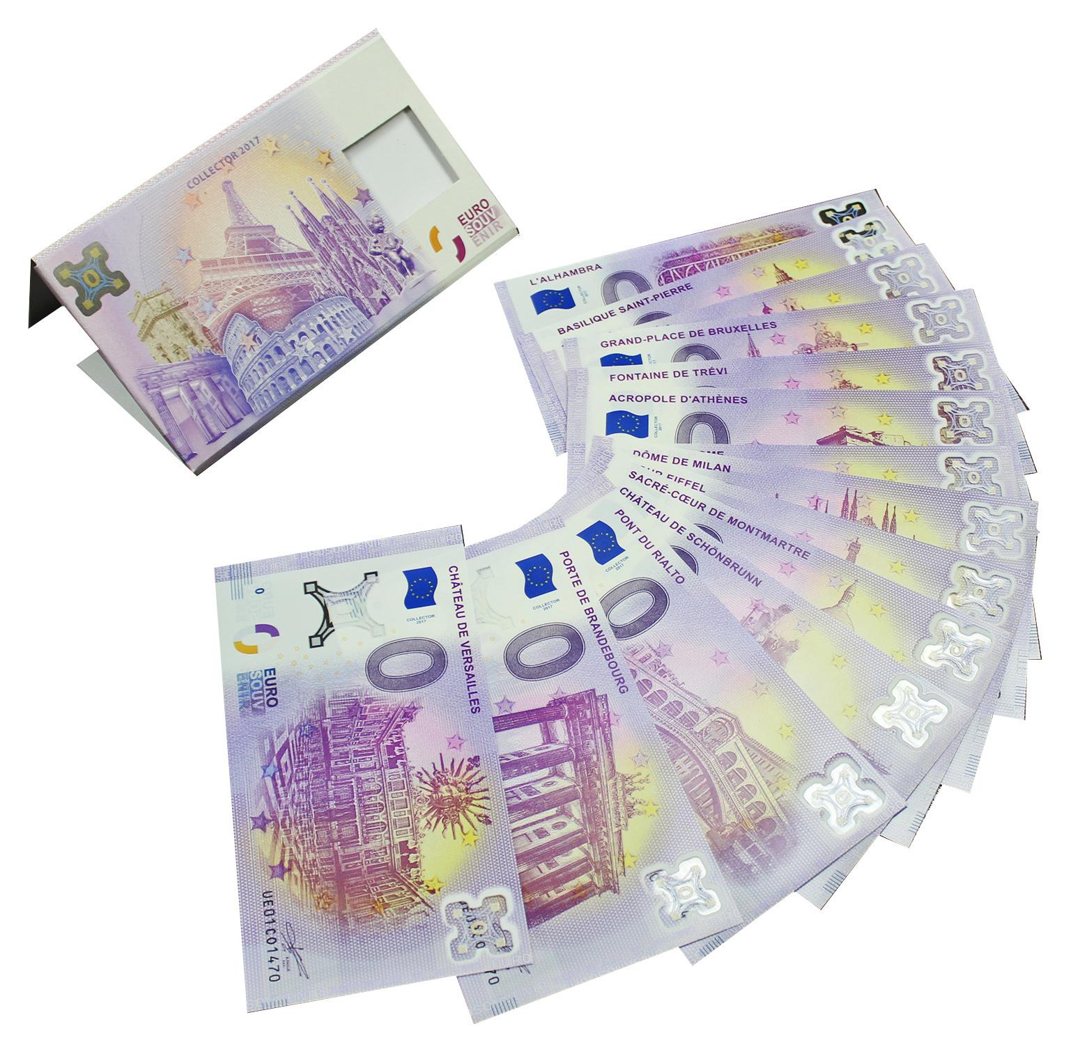 Набор из 15 сувенирных банкнот 0 евро 2017 год. UNC
