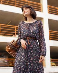 Платье-миди в мелкий цветок