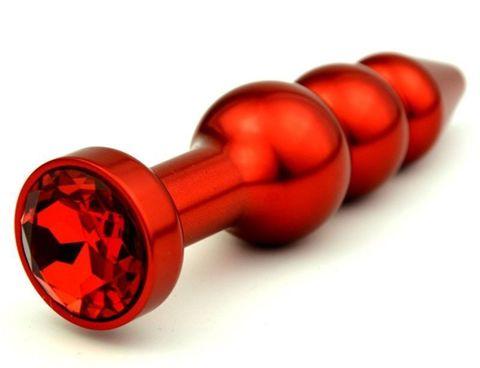 Красная анальная ёлочка с красным кристаллом - 11,2 см.