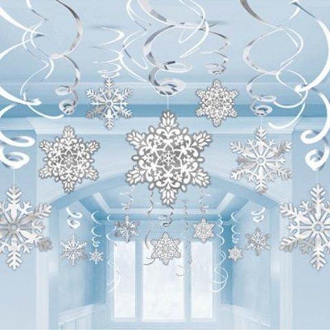 Спирали Снежинки белые,серебряные, 30 шт