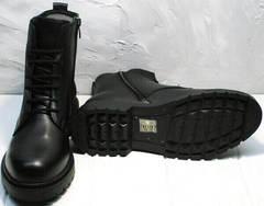 Грубые осенние ботинки на тракторной подошве женские Misss Roy 252-01 Black Leather.
