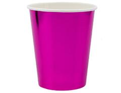 Стаканы фольгированные, Ярко-розовый (Фуксия), 250 мл, 6 шт, 1 уп.