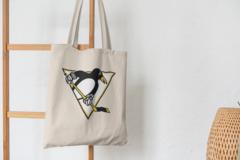 Сумка-шоппер с принтом НХЛ Питтсбург Пингвинз (NHL Pittsburgh Penguins) бежевая 003