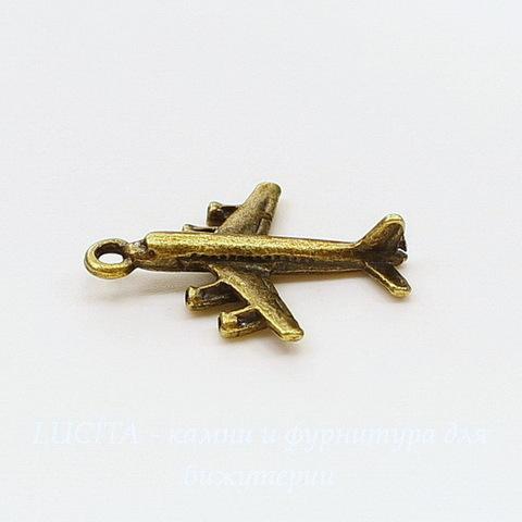 """Подвеска 3D """"Самолет"""" 29х23 мм (цвет - античная бронза)"""
