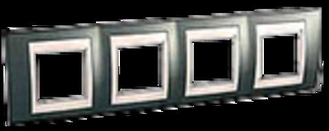 Рамка на 4 поста. Цвет Шампань/Бежевый. Schneider electric Unica Хамелеон. MGU6.008.524