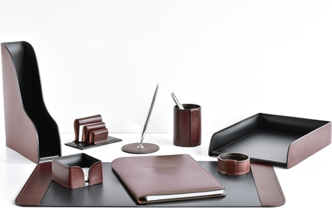 Набор на стол руководителя 9 предметов из кожи FG Bologna Brown/Cuoietto
