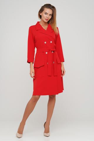 Красное платье-халатик миди-длины