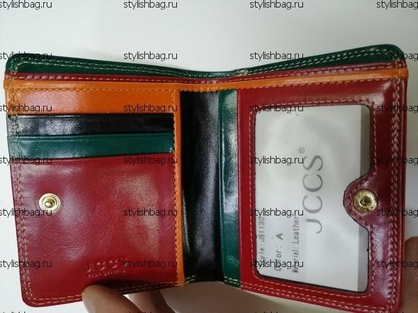 Маленький красный кошелек из кожи JCCS j-1130