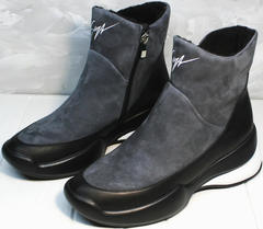 Girls snow boots Jina 7195 Leather Black-Gray