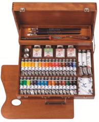 Набор масляных красок Van Gogh Максимальный 34цв по 20мл + ВС + аксессуары в деревянном коробе