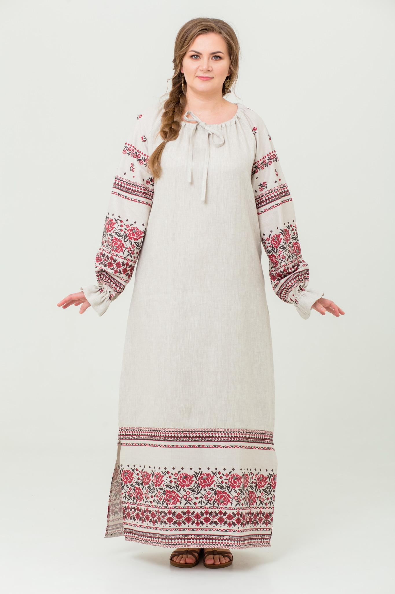 платье Женское счастье на небелёном без пояса