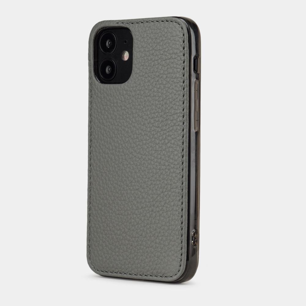 Чехол-накладка для iPhone 12 Mini из натуральной кожи теленка, стального цвета