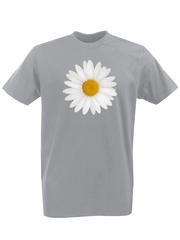 Футболка с принтом Цветы (Ромашки) серая 001