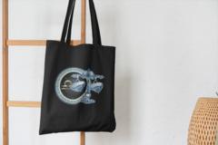 Сумка-шоппер с принтом Знаки Зодиака, Весы (Гороскоп, horoscope) черная 001