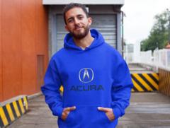 Мужская толстовка синяя с капюшоном (худи, кенгуру) и принтом Акура (Acura) 001