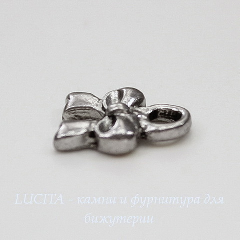 "Подвеска ""Бантик маленький"" 10х8 мм (цвет - античное серебро)"
