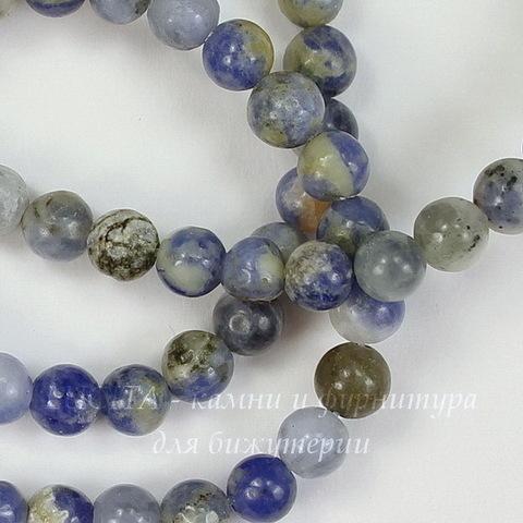 Бусина Содалит, шарик, цвет - синий с бежевым, 4 мм, нить