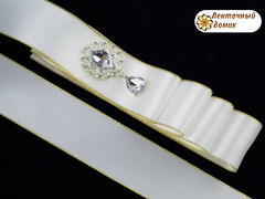 Лента атласная люкс Белая с золотой люрексовой каймой 38 мм