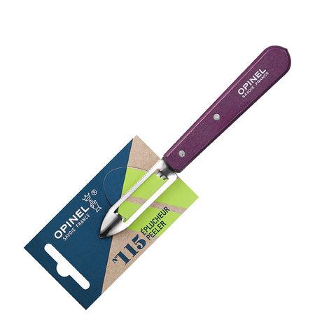 Нож для чистки овощей Opinel №115, деревянная рукоять, нержавеющая сталь, сливовый, блистер