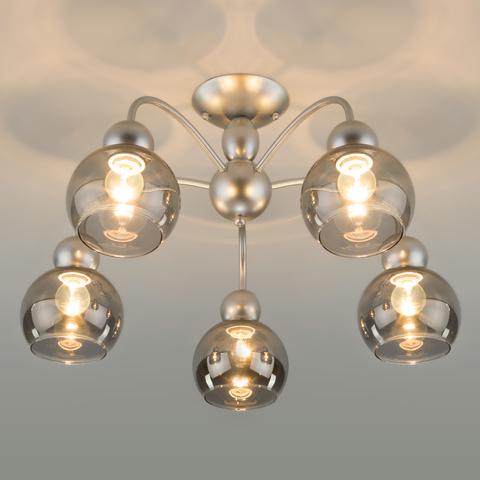 Потолочная люстра со стеклянными плафонами 30148/5 серебро