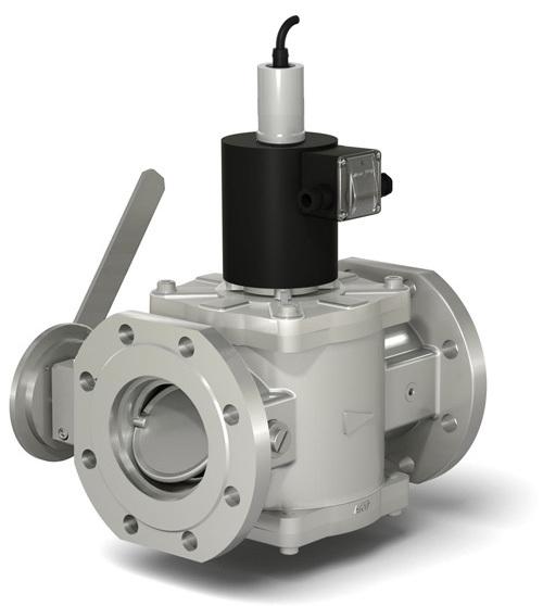 Клапаны электромагнитные двухпозиционные фланцевые с ручным регулятором расхода и датчиком положения на DN 65-100 (с присоединительными фланцами PN 16)