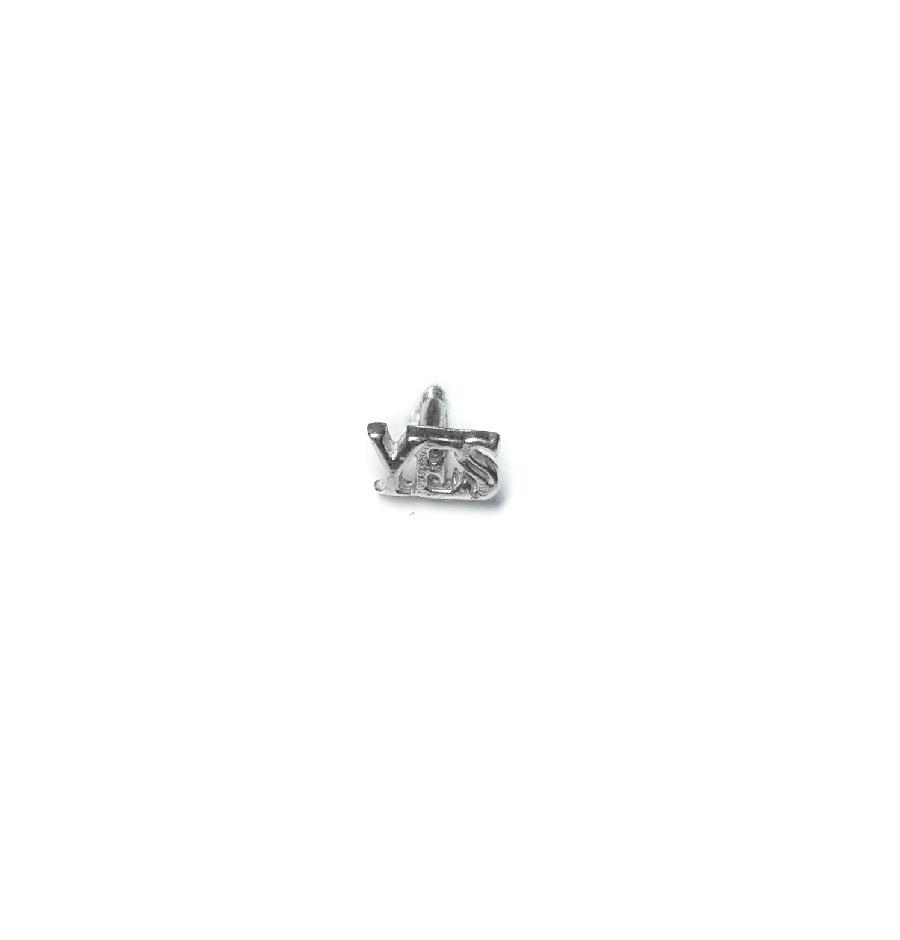 Yes stud earring, sterling silver