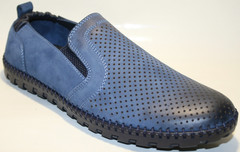 Модные туфли летние мужские, синие Luciano Bellini 41 ( 26 см).