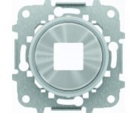 Розетка USB-зарядка двойная. Цвет Хром. ABB Skymoon. 2CLA818500A1001+2CLA868500A1401