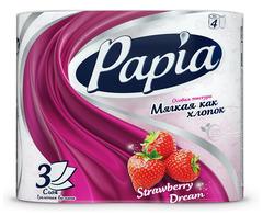 "Туалетная бумага ""Papia""  3-х слойная  Клубничная мечта 4шт"