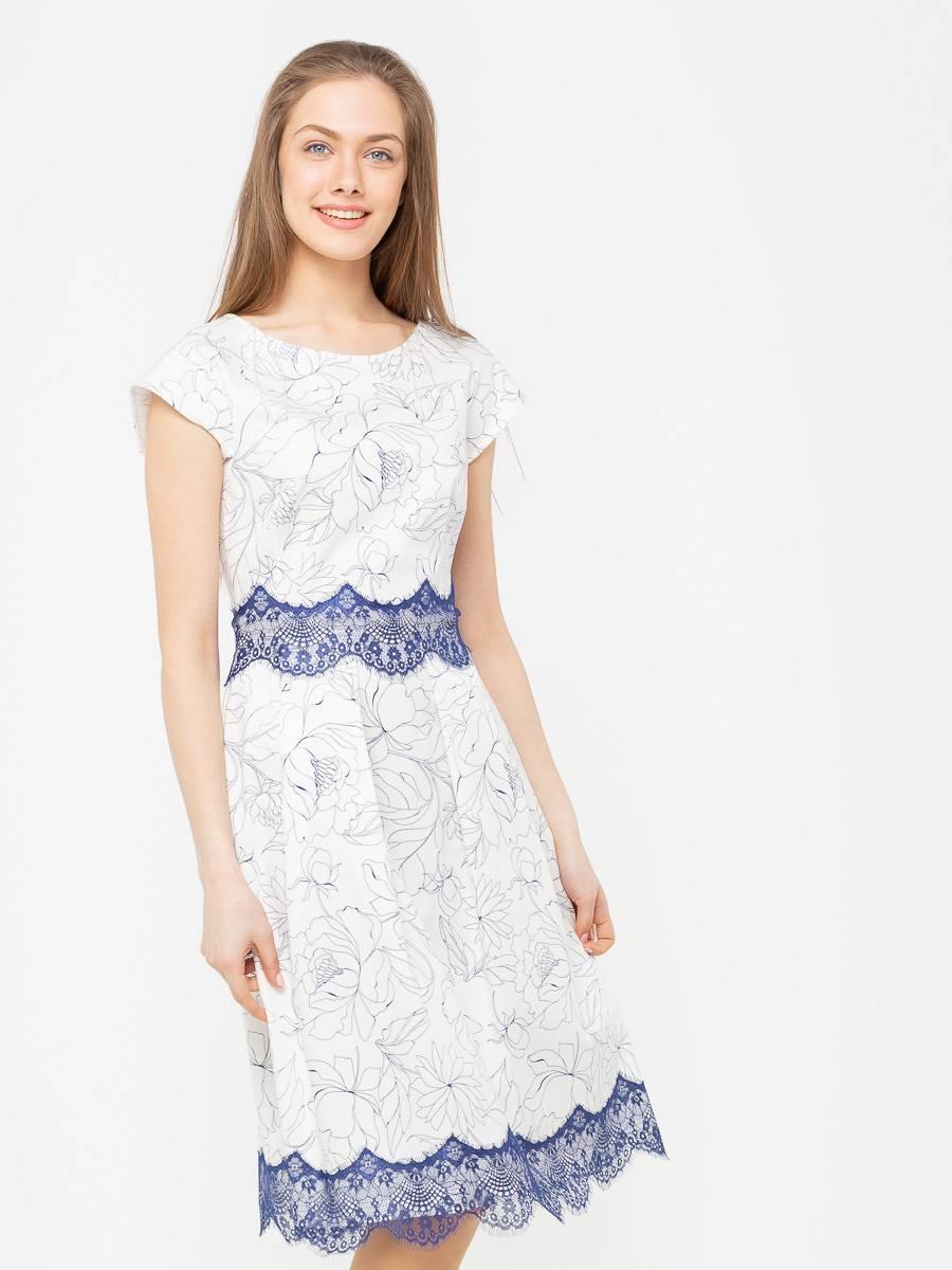Платье З283а-571 - Стильное платье с цветочным принтом и отделкой из нежнейшего кружева. Этот кокетливый и легкий фасон прекрасно подходит практически всем, скрывая недостатки фигуры. Классические линии кроя идеально обрисовывают женственный силуэт. Подходит для отпуска, романтических встреч, праздничных и вечерних мероприятий.